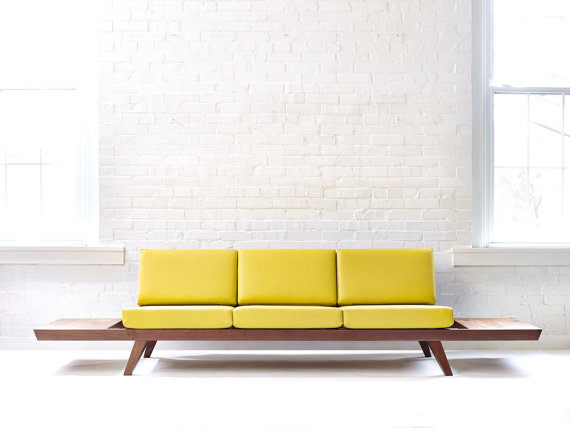 Handmade Mid-century Solid Wood Walnut Sofa by WakeTheTree