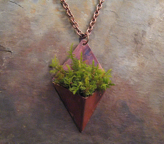 Living Jewelry Copper Planter Necklace by Copperhead