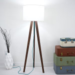 Mid century Modern Inspired Solid Walnut Tripod Floor Lamp