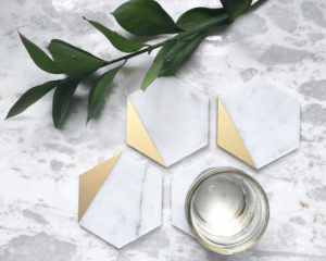Gold Dipped Carrara Marble Coasters